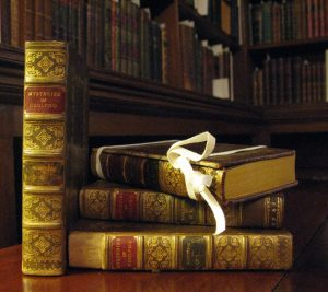 The four volumes of a first edition 'Mysteries of Udolpho', from the Chawton House Library collection