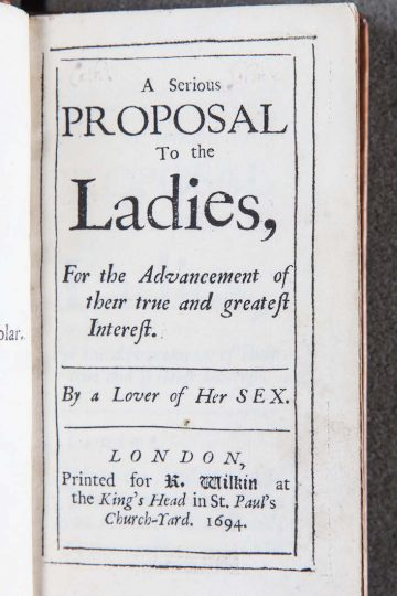 First edition of A serious proposal to the ladies by Mary Astell, frequently referred to as the first English feminist