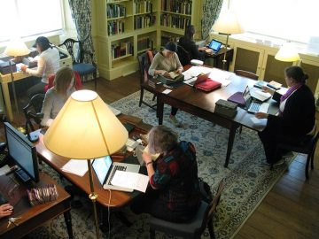 Visiting fellows working hard in the Upper Reading Room