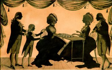 This 1783 silhouette by William Wellings depicts the houng Edward Austen's first introduction to Thomas and Catherine Knight, who later made him their heir.