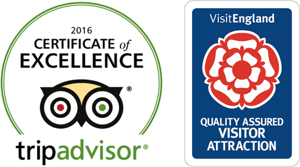 Tripadvisor Certificate of Excellence 2016 and Visit England Quality Assured Visitor Attraction