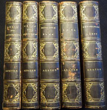 Image of 5 leather-bound books