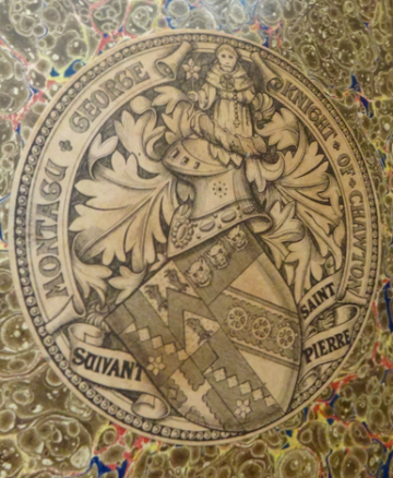 Image of Knight family crest bookplate